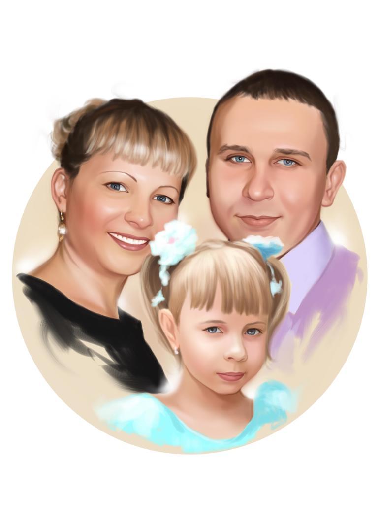 Семейный портрет по фото на холсте в Кирове — правильный подарок!
