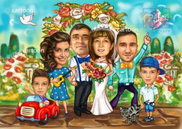 Шарж по фото на годовщину свадьбы на заказ в Кирове…