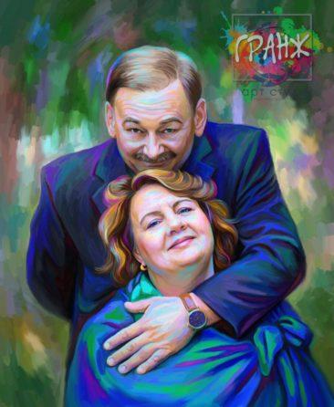 Семейный портрет по фото на холсте — подарок на праздник